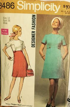 VTG 8486 Simplicity 1969 Designer Fashion by ThePatternParlor