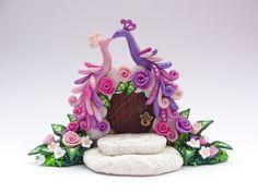 Wedding cake topper 2 peacocks sitting on fairytale by fizzyclaret