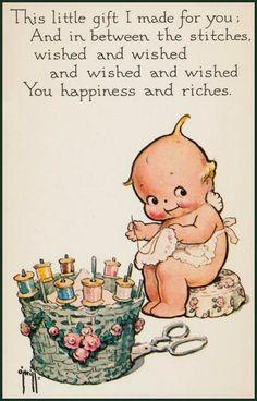 Sweet Kewpie Stitching postcard #quilting #sewing