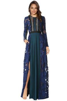 7ad3b7749248 Self Portrait - Thea Maxi Dress - Green Blue - Front Corsetto Aderente