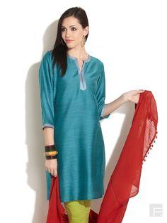 Tussar Silk Blend Embellished Placket Kurta - Fabindia