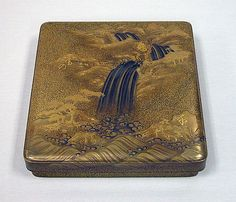 Writing Box with Design of Waterfall and Auspicious Characters,Meiji period (1868–1912)