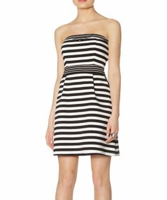 Black & White Stripe Ponte Strapless Fit & Flare Dress | zulily