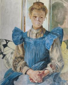 Artwork by Jacek Malczewski, Julia, the Artist's Daughter, sitting on a Chair in the Shape of a Butterfly, Made of Oil, cardboard