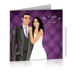 faire-part mariage violet gris capitonné