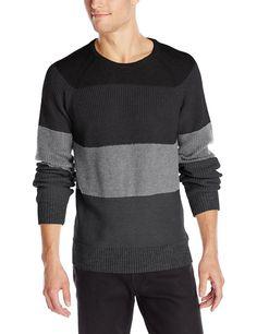 $29.99 Free EXP Ship Calvin Klein Jeans Men's Sweater ColorBlock MixedTexture NWT Black/Charcoal $79R #CalvinKleinJeans #Crewneck #menswear #menssweaters