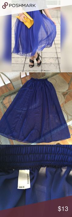 """American Apparel Sheer Blue Maxi Skirt, size XS/S American Apparel Sheer Blue Maxi Skirt in size XS/S. color is a royal blue. Measures 36.5"""" from waist to hem. Made from 100% polyester and features an elasticized waist. In excellent condition. Please ask if you have any questions. American Apparel Skirts Maxi"""