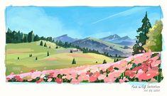 Landscape Illustration, Landscape Art, Illustration Art, Thumbnail Background, Environment Concept Art, Scenery Wallpaper, Anime Scenery, Aesthetic Backgrounds, Aesthetic Art
