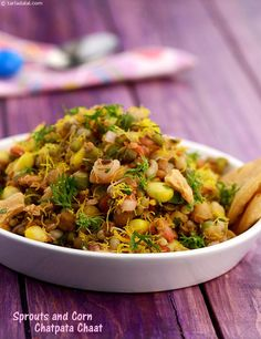 Sprouts and Corn Chatpata Chaat An interesting way to consume healthy sprouts! this protein-rich chaat makes an excellent anytime snack for your kids, and will boost their energy levels when it ebbs. A no-fuss snack, it will take just a few minutes to mix Veg Recipes, Indian Food Recipes, Vegetarian Recipes, Cooking Recipes, Healthy Recipes, Ethnic Recipes, Cooking Tips, Starter Recipes, Sprout Recipes