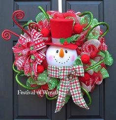 Christmas Wreath  Christmas Deco Mesh Wreath  by FestivalofWreaths