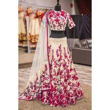 Women\'s Red Net Semi-stitched Lahenga Choli(l532-03_red_free Size)
