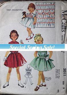 1955 McCall's sewing pattern #2011 in Child's #supplies @EtsyMktgTool #vintagepattern #mccall's2011 #smockeddress #smocking