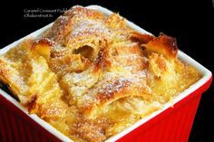 Caramel Croissant Pudding - Ever have the craving for a quick dessert after a mid week meal? A portion for two or maybe one. A dessert devourable as soon as its out of the oven; one that is whole by itself, undemanding of fancy decorations, a glaze or anything else?