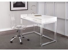 Shop Arlo Modern Chrome and White Laminate Desk by Greyson Living - On Sale - Overstock - 30534268 Home Office Space, Home Office Desks, Home Office Furniture, Furniture Deals, Office Decor, Urban Furniture, Office Table, Apartment Office, Office Chic