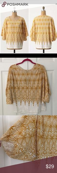 "Anthropologie NWT AmberRoom Lace Print Batwing Top new with tag boho inspired Amber Room lace print batwing style knit top from Deletta for Anthropologie. 100% cotton. size x-small. generous silhouette that in my opinion could fit up to a size medium. bust flat is 20"", length is 22"". Anthropologie Tops"