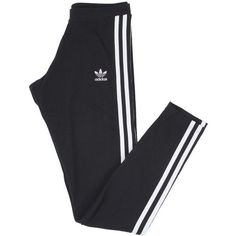 Adidas Womens Originals Clothing 3 Stripe Leggings Black (100 BRL) ❤ liked on Polyvore featuring pants, bottoms, leggings, sweatpants, cotton jersey and adidas