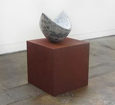 Senden Blackwood,  'aio' 2012,    carved limestone, Corten steel,  101 x 63 x 54cm
