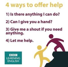 4 ways to offer help Bbc English, English Units, English Idioms, English Phrases, English Writing, English Study, English Grammar, English Lessons For Kids, Learn English Words