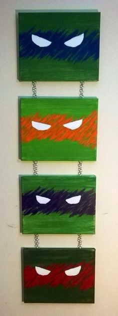 I want to do something like this for Cole's room.Teenage Mutant Ninja Turtles Wall Art w/ by StonekingPaintings, $54.00