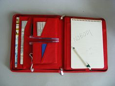 Red Leather Zipper Portfolio with Conference Pad by leathercase, $125.00