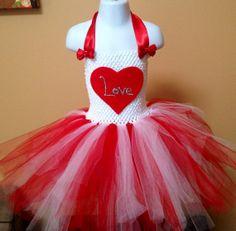Valentine's Day Tutu Dress handmade by Tutu Cute N Sweet. $35