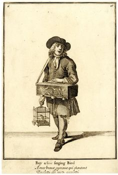 A young street trader with a cage of birds around his neck, another in his right hand,  from late series of the Cries of London, the plate reworked with hat altered.  1688, reworked and published after c.1750  Etching