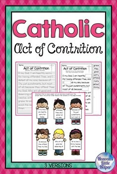 Catholic Religion Act of Contrition Prayer Catholic Religious Education, Catholic Religion, Catholic Prayers, Catholic Children, Catholic Crafts, Catholic Saints, Student Learning, Kids Learning, Catholic Sacraments