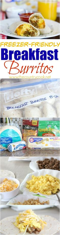 "FREEZER-FRIENDLY BREAKFAST BURRITOS ""These feature my favorite powerhouse breakfast food - Perfect for back to school. All of us can eat and get out of the door in the morning. It tastes so good too. I like a little salsa on mine. And I can make a bunch ahead of time to get us through the next couple of weeks. Yum! Love this!"" 