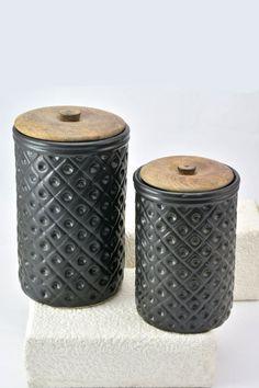 Circular Grid Embossed Jar #black #jar #kitchen #embossed #utility #Beautiful #texture #wowtrendy