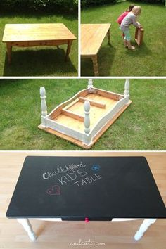 DIY Chalkboard Kid's Table Use my old play table or old doing room table?