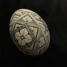 Rhea egg (morning glory /lotus mandala ? Something like that ) design waxed and ready for color