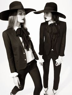 UK Harper's Bazaar Feb 2013 Marikka Juhler and Kirsi Pyrhonen by Tom Allen Styled by Cathy Kasterine in Saint Laurent Paris Mode Style, Style Me, Odette Et Lulu, Estilo Dark, Look Fashion, Fashion Design, Fashion Trends, Witch Fashion, Fashion Hats