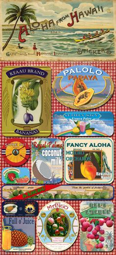 fruit labels from Hawaii