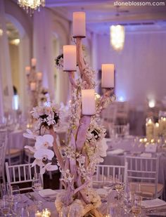 Candles On A Branch With Orchids Ivy Greenery Remarkable Wedding Reception Ideas From Stoneblossom