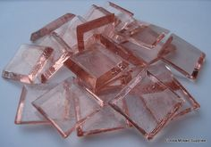 3/4 Pink Clear Venetian Glass Mosaic Tiles by FLMosaicSupplies, $3.00