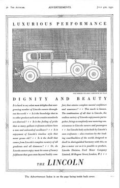 Lincoln Car Motor Autocar Advert 1930 - Dignity and Beauty