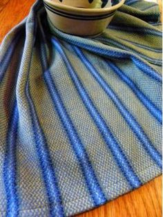 Handwoven Kitchen Tea Towel In Grey With Bright Blue Stripes