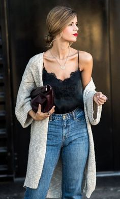 This silk cami layered with a casual sweater is the perfect look for the end of cold and beginning of warm weather! Check out these fabulous Spring fashion trends.