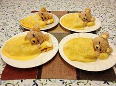 Sleeping Teddy Bears Egg Omelette with Rice Balls Recipe By Cupcakepedia