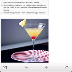 Pineapple upside down cake martini!  Looks delicious!
