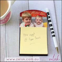 Personalised post-it note holder - great Mother's Day gift idea!