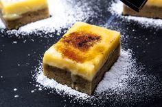 Crème Brûlée-Schnitten mit Espressoboden