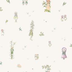 Blomsterfesten, Scandinavian design by Elsa Beskow from the Scandinavian Designers Mini collection - Boråstapeter. Gorgeous wallpaper for kids room and nursery. Elsa Beskow, Fairy Wallpaper, Kids Room Wallpaper, Classic Wallpaper, White Wallpaper, Mini, All Themes, Patterns In Nature, Beautiful Children