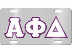 Chrome mirrored Alpha Phi Delta license plate with white and purple reflective letters. Has mounting holes for easy installation on any standard car. Comes with a removable protective film to keep your license plate scratch-free.