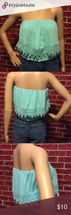 Beautiful Crochet Top Crochet Top. Color: Light Blue. 100% rayon. This super cute strapless crop top features a gathered neckline, smocked hem and upper flounce layer with scalloped hem. **Seller's Discount: 20% off 2 or more items.** Tops