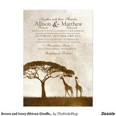 Brown and Ivory African Giraffe Wedding Invitation, Lion King Wedding! http://www.mybigdaycompany.com/weddings.html
