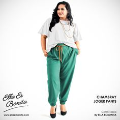 Chambray Jogger Pants - This jogger pants features high quality chambray cotton which specially designed for sophisticated curvy women originally made by Indonesian Designer & Local Brand: Ella Es Bonita. Available at www.ellaesbonita.com