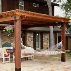 This image features a patio pergola constructed using the Post Base Kit, Post to Beam Bolt Brackets, and Rafter Clips from OZCO Ornamental Wood Ties Budget Patio, Patio Garden Ideas On A Budget, Patio Diy, Pergola Canopy, Backyard Pergola, Pergola Shade, Pergola Plans, Patio Ideas, Pergola Ideas
