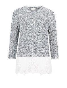 Size 14 M & S INDIGO COLLECTION Crochet Hem 3/4 Sleeve Jumper, Blue Mix  | eBay