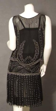 EXTRAORDINARY Beaded Black 1920's Dress Set w/ Carwash Hem. Back by benita